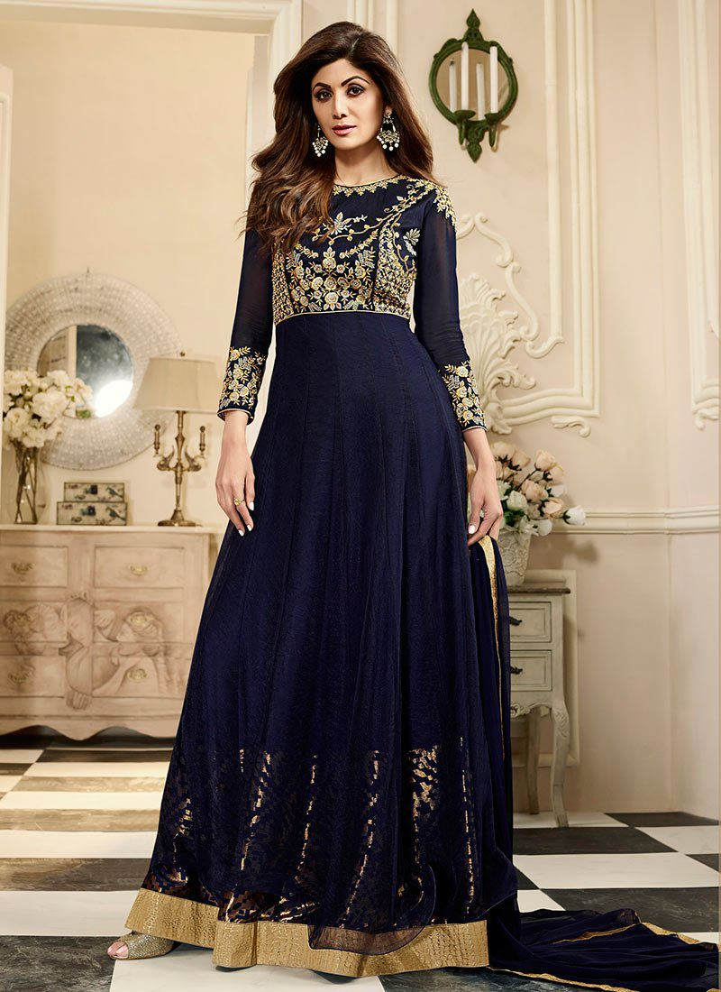 shilpa shetty blue georgette anarkali suit 10012