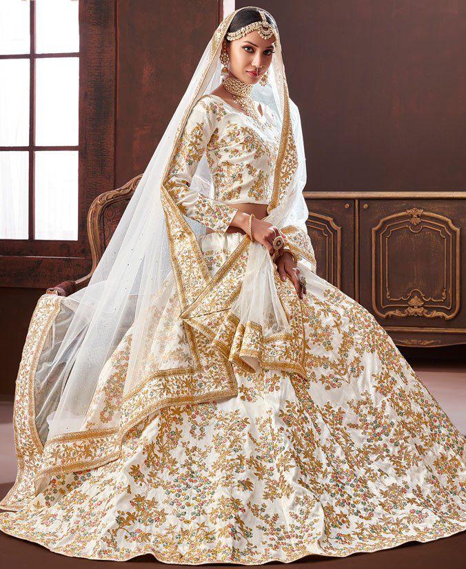 Buy White Pure Silk Indian Wedding Lehenga In UK, USA And