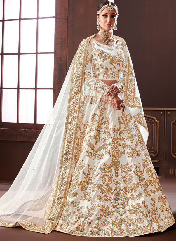 Indian Wedding Outfits.Buy White Pure Silk Indian Wedding Lehenga In Uk Usa And Canada