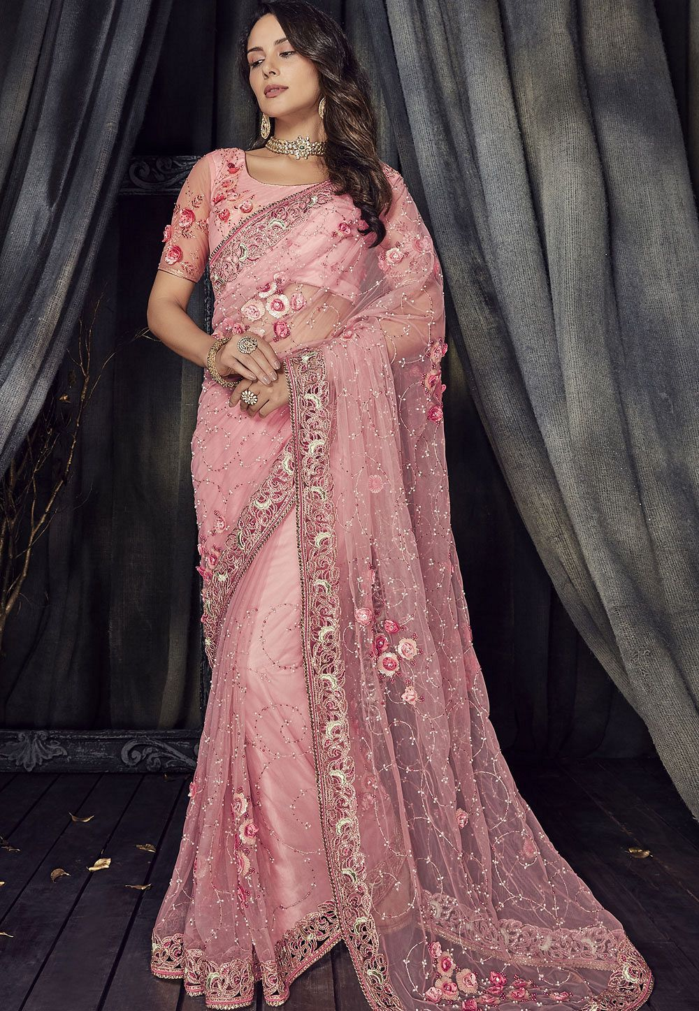 Buy Pink Color Net Designer Party Wear Saree In Uk Usa And Canada