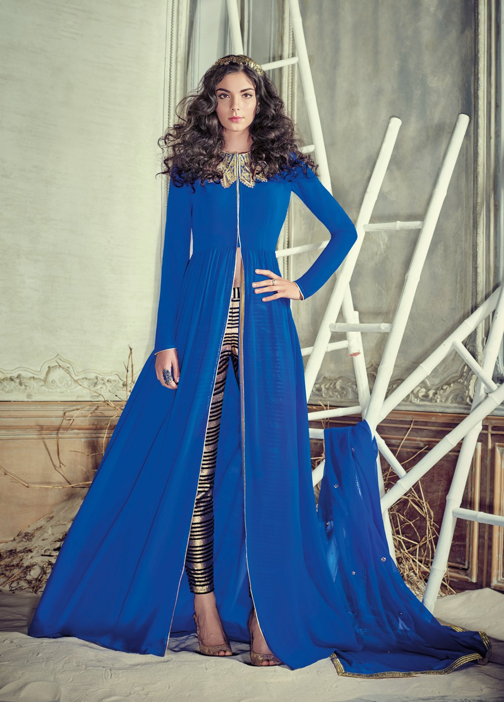 c0dbcc62c3 Buy Stunning blue color georgette pant style party wear salwar ...