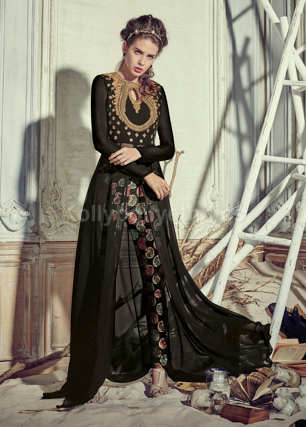 96743d1e71 Buy Stunning black color georgette pant style party wear salwar ...