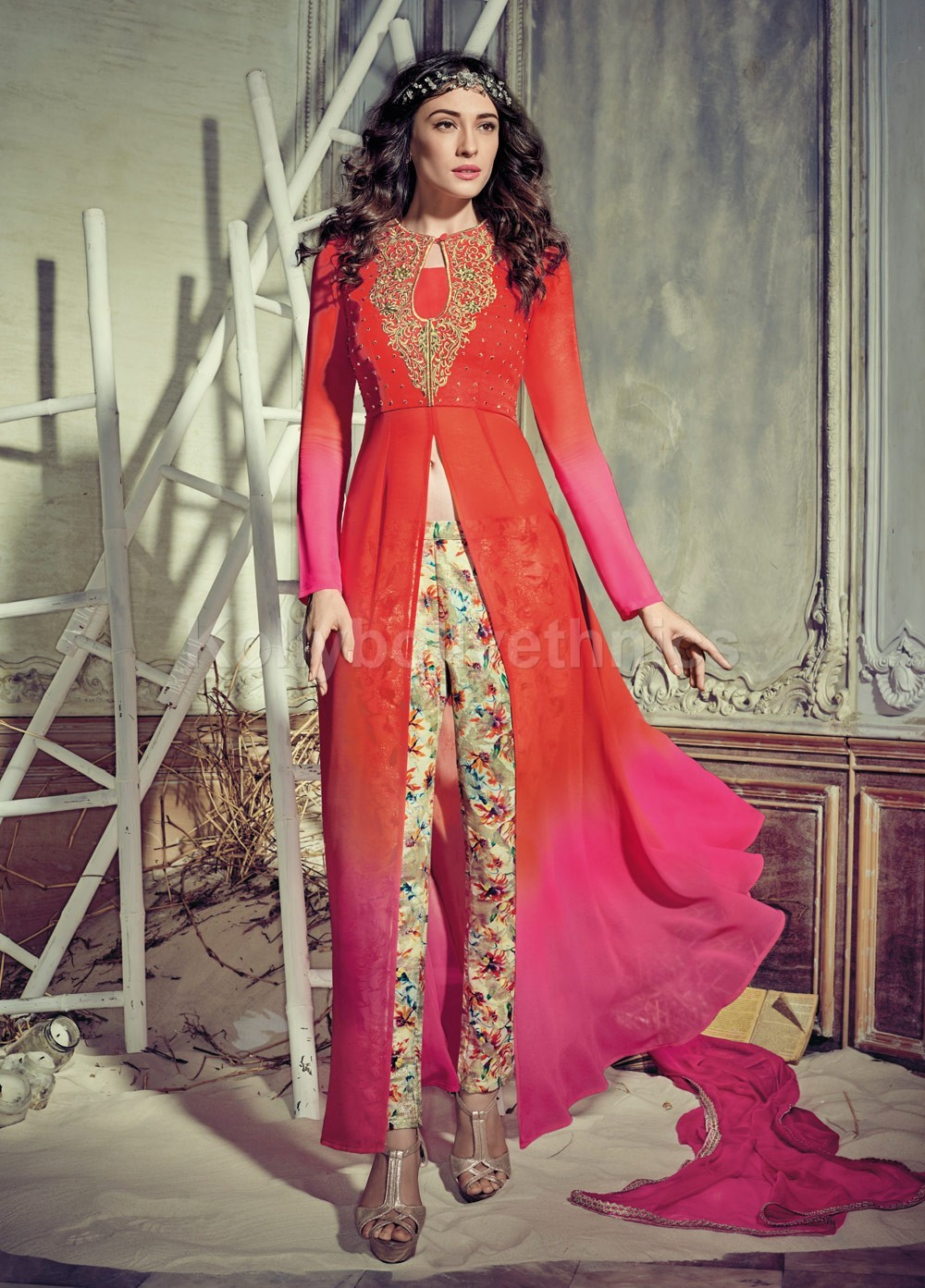 94e42efea1 Stunning orange and pink color georgette pant style party wear salwar kameez