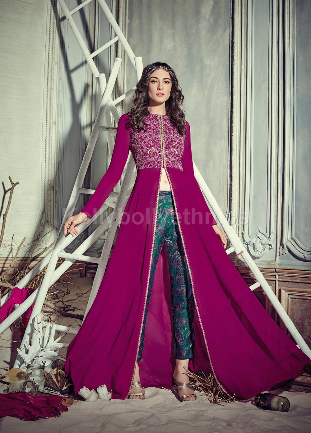 Stunning Rani Pink Color Georgette Pant Style Party Wear Salwar Kameez