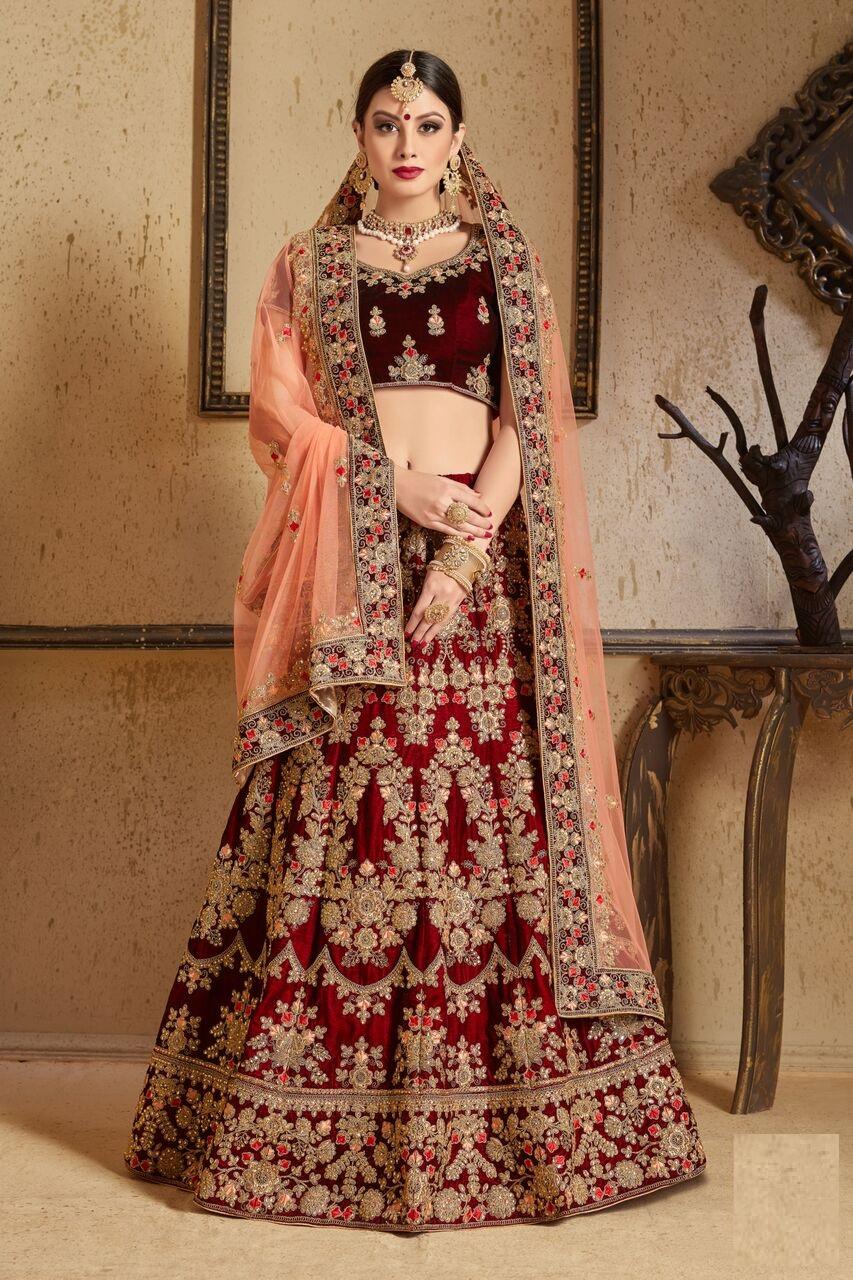 850695960e Maroon peach Silk Indian Wedding wear lehenga choli 1202