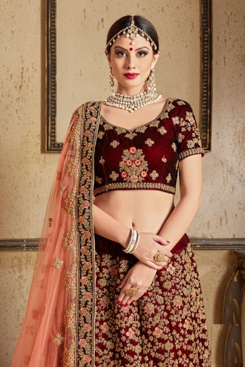 ea74a69160 Maroon peach silk Indian Wedding wear lehenga choli 1204