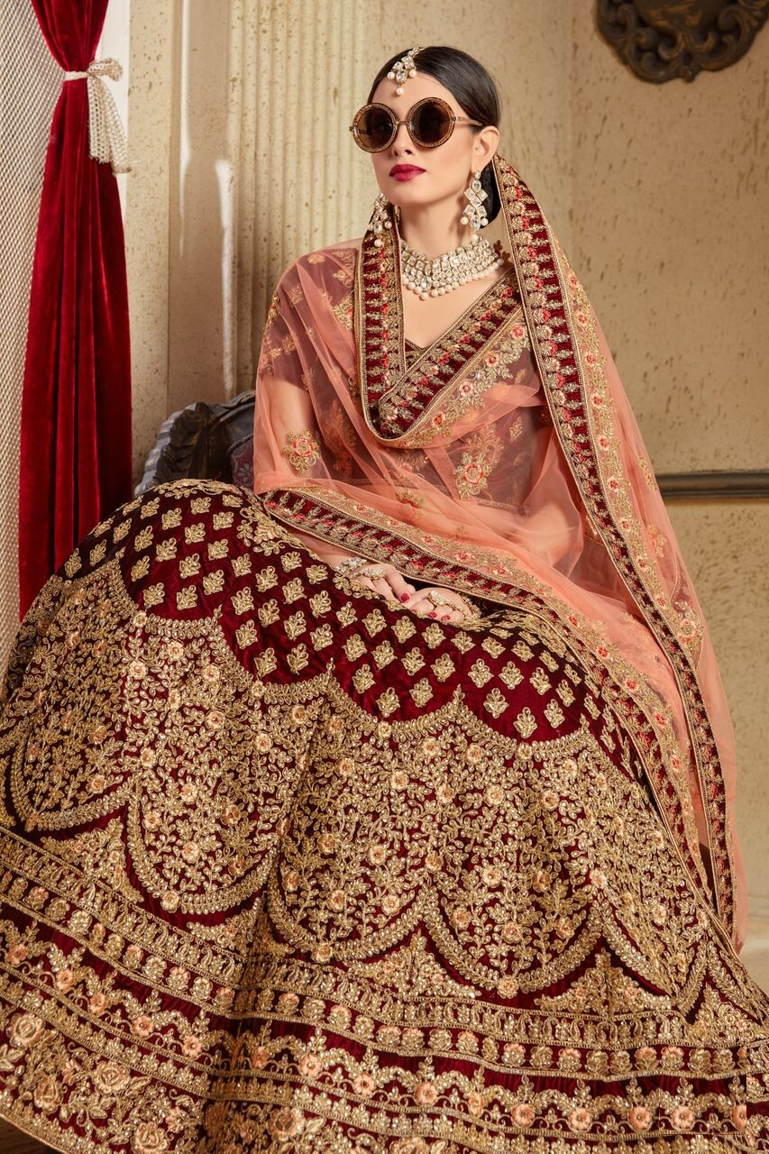 Maroon peach silk Indian Wedding wear lehenga choli 1205
