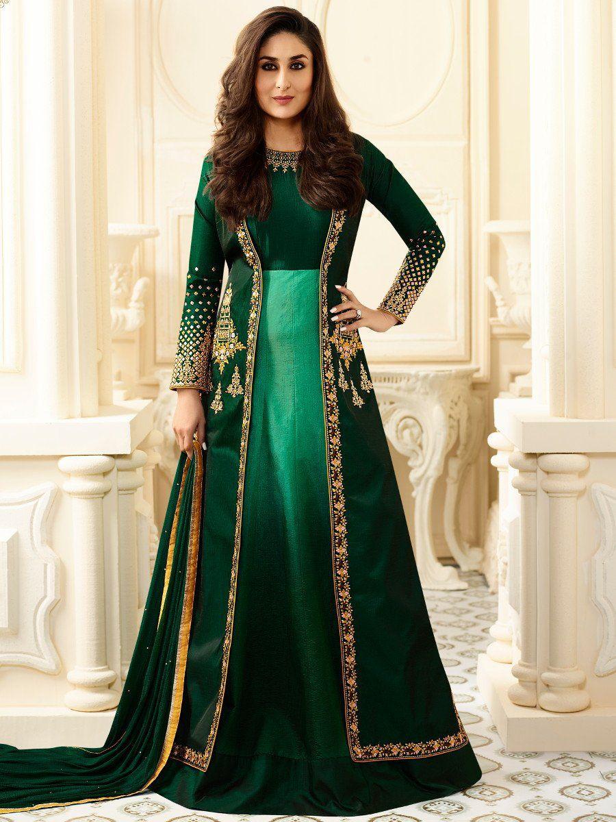 Buy Kareena Kapoor bottle green georgette straight cut ...