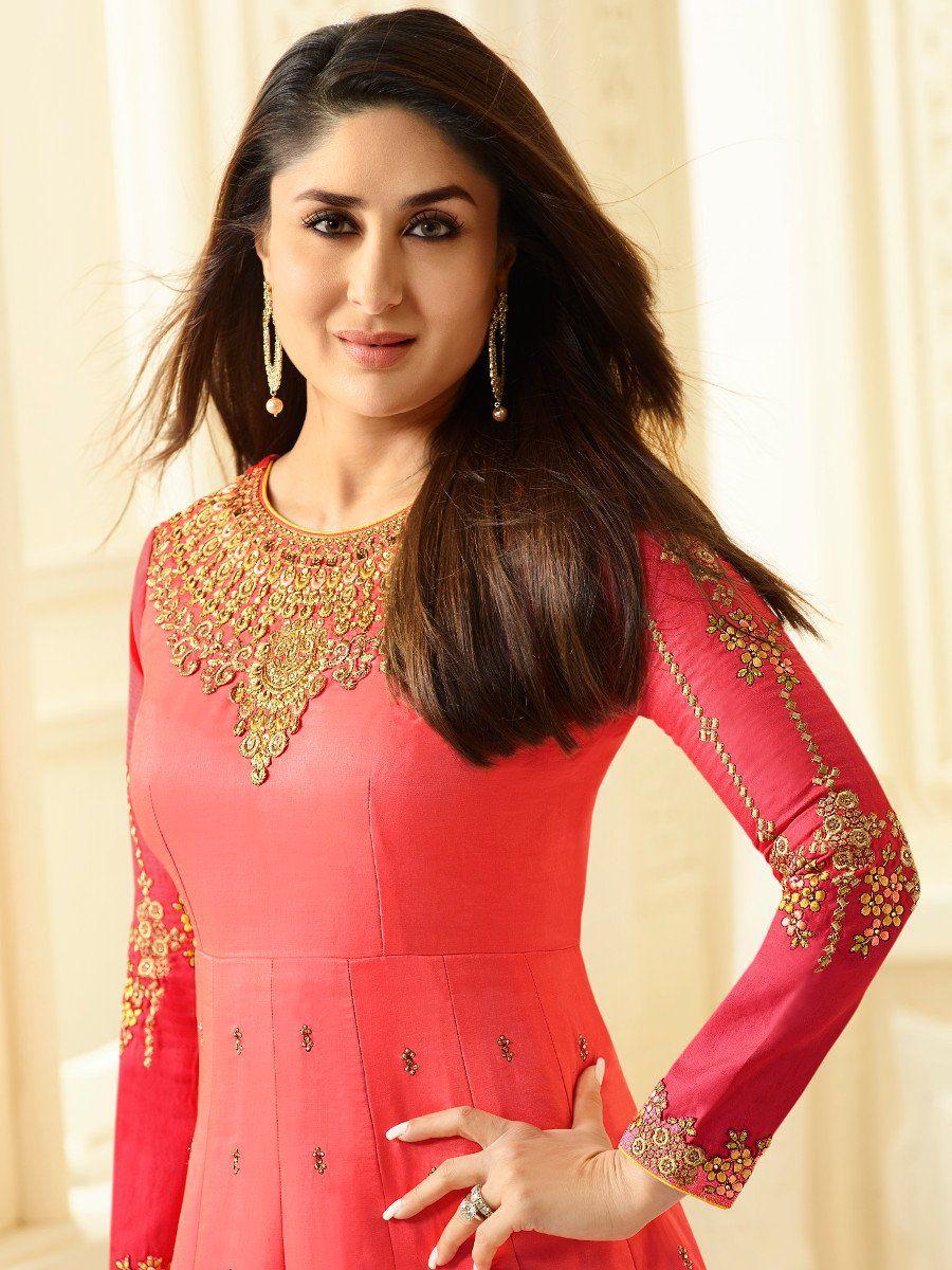 Buy Kareena Kapoor coral pink georgette straight cut ...