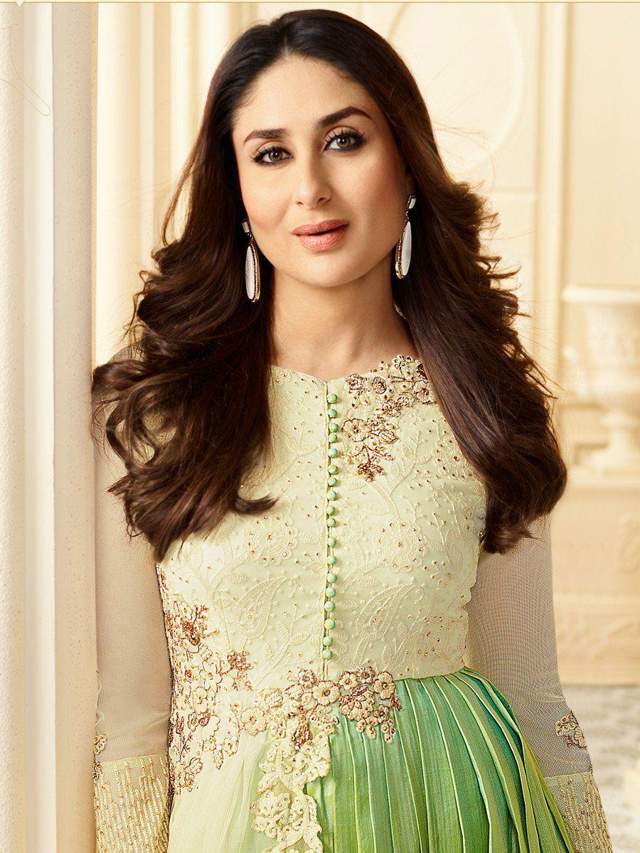 Buy Kareena Kapoor cream and green georgette straight cut ...