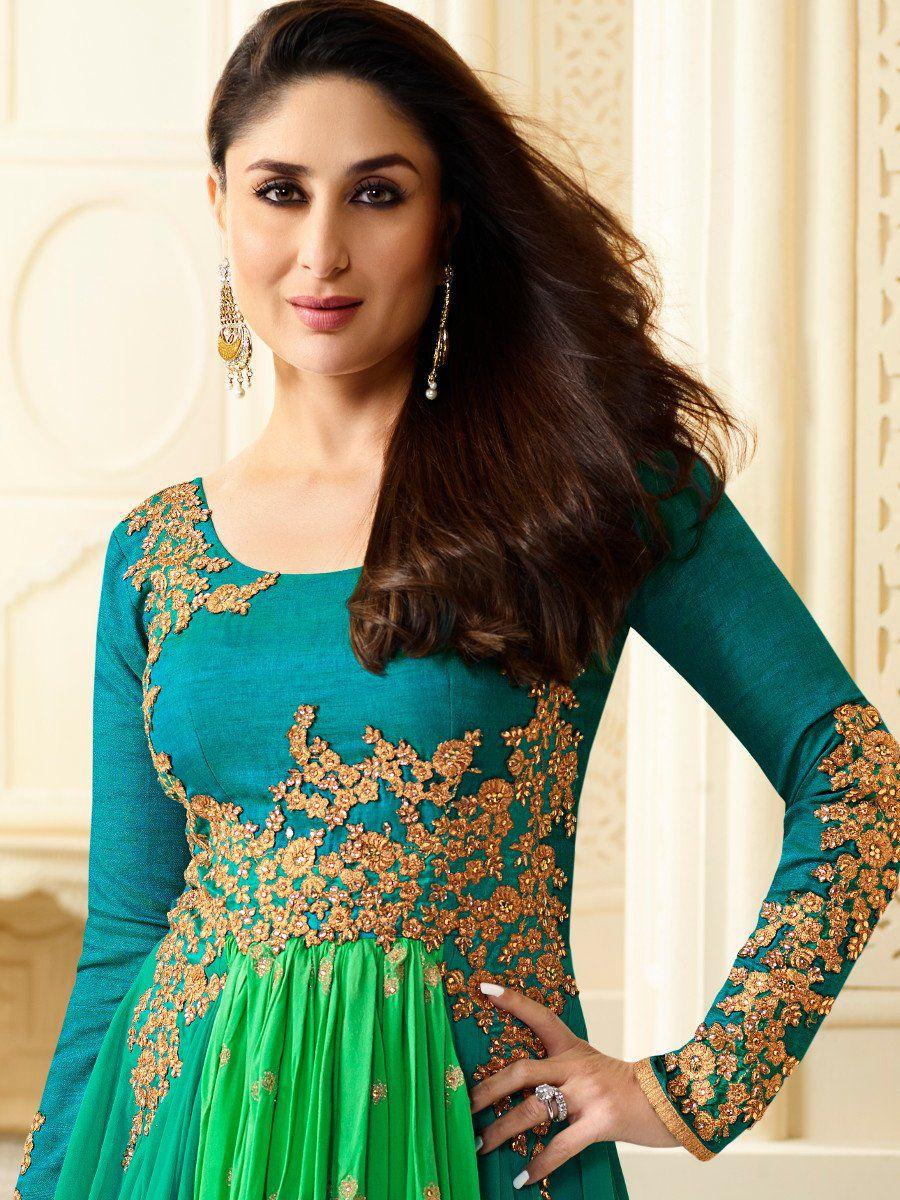 Buy Kareena Kapoor green georgette straight cut salwar ...