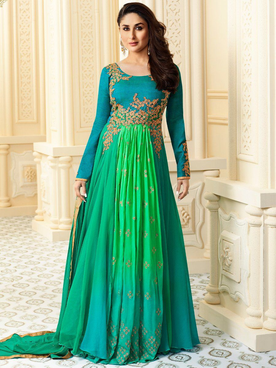 Buy kareena kapoor green georgette straight cut salwar for Wedding dresses usa online shopping