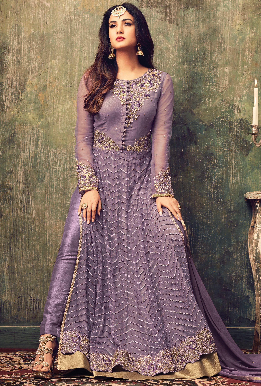 Sonal chauhan lavender color net party wear anarkali suit 4707