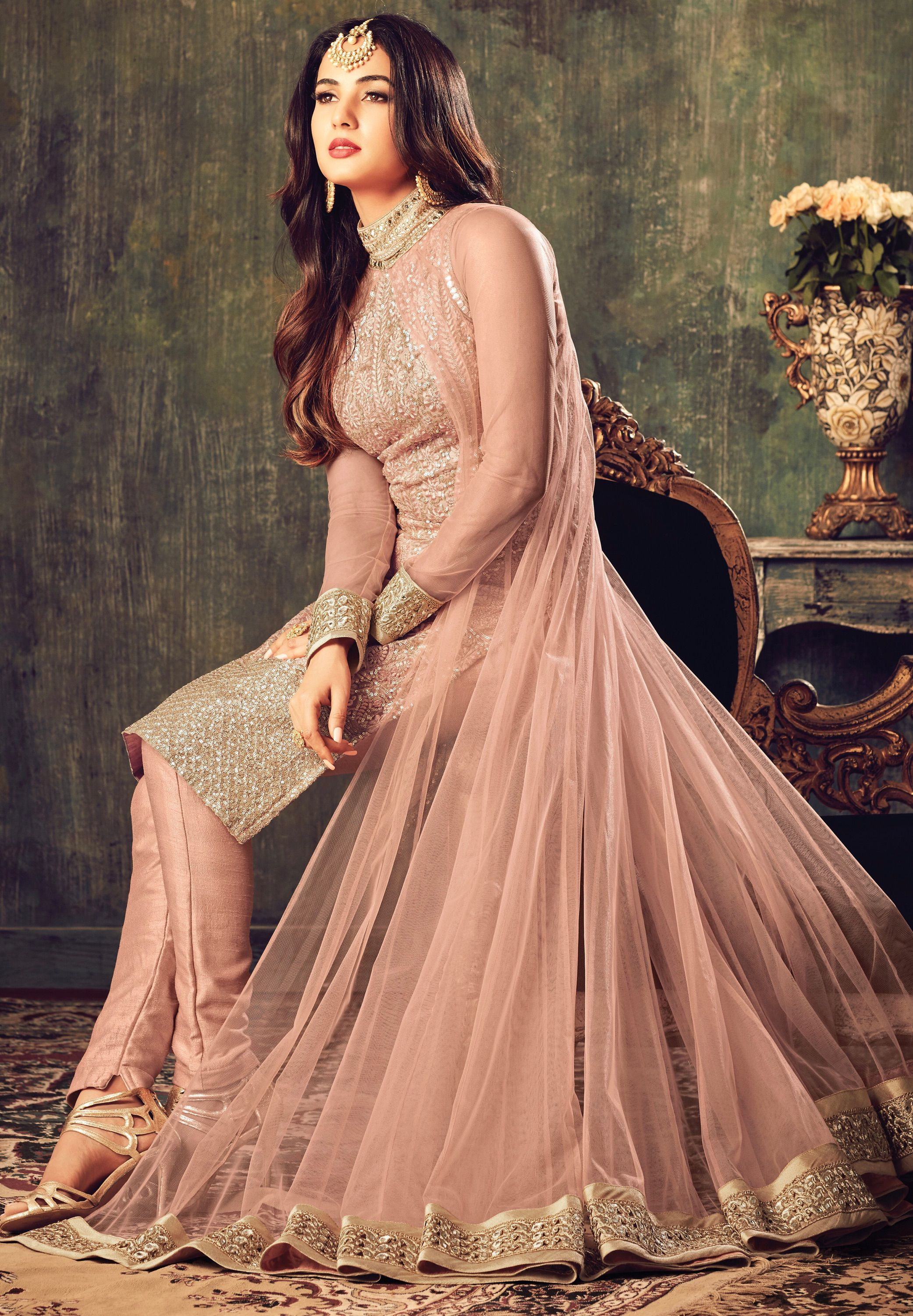 Sonal chauhan onion pink net party wear pant suit 4704
