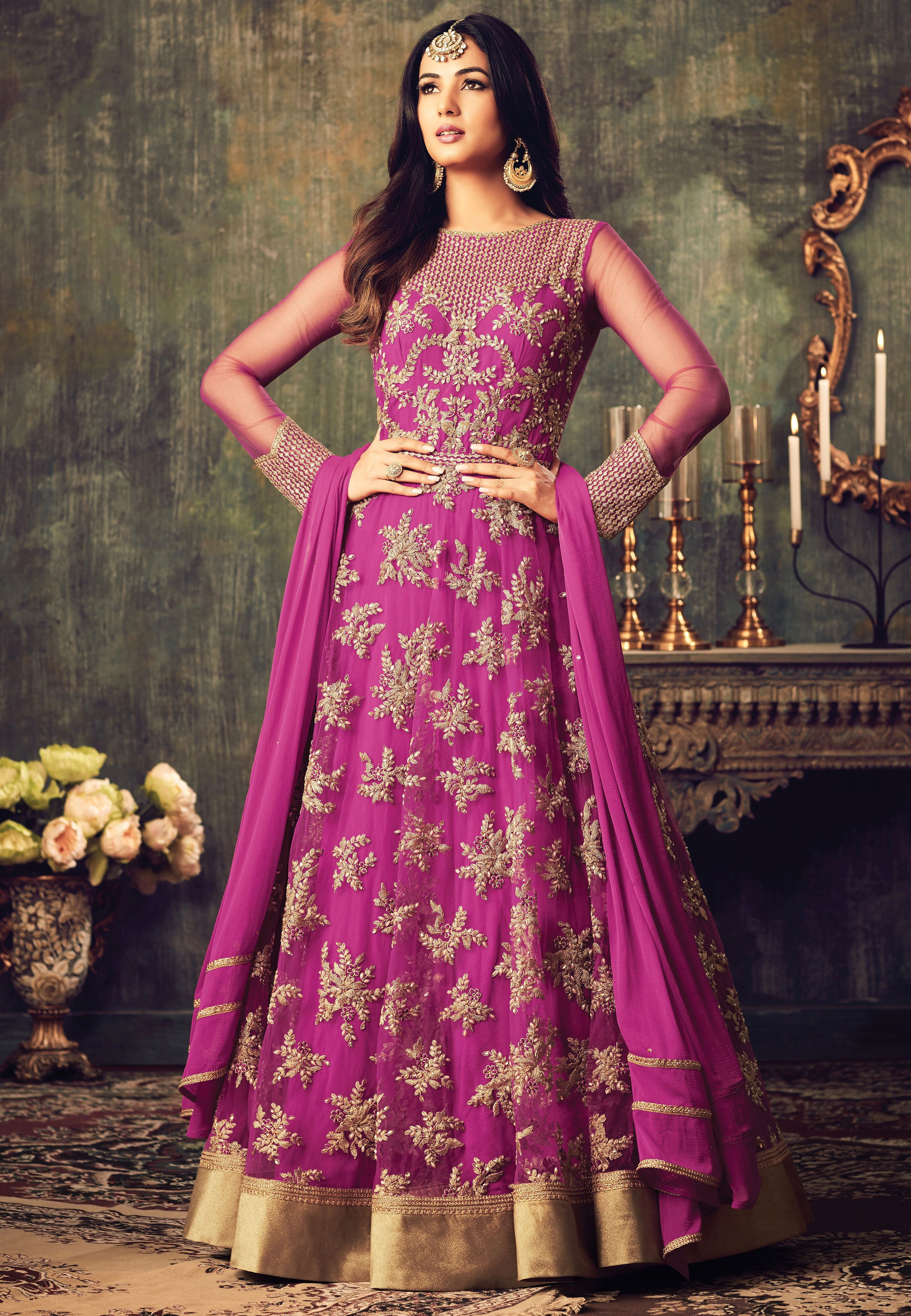 Sonal Chauhan Pink Net Party Wear Pant Suit 4702