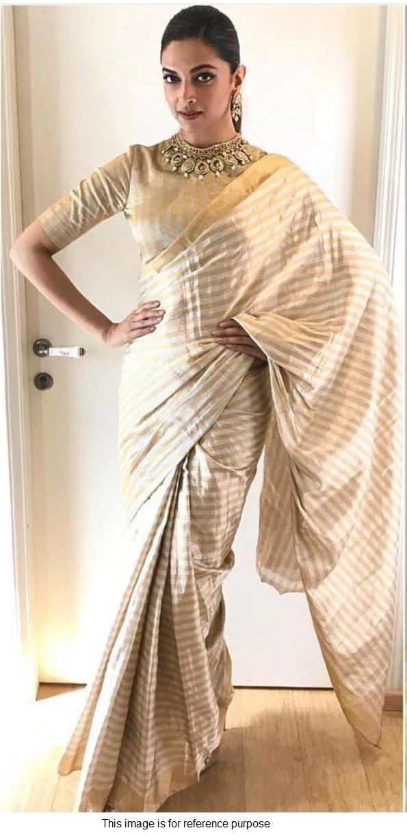Buy Bollywood Deepika Padukone Off white gold Pure silk ...