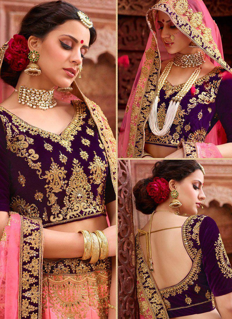 af4e0cf323 Buy Peach and purple satin silk and net wedding lehenga in UK, USA ...
