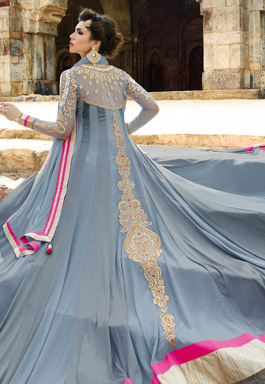 Buy Grey color faux satin georgette wedding wear anarkali salwar ...