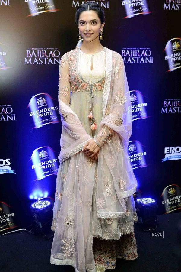 Buy online Deepika Padukone white color netted Bollywood ...