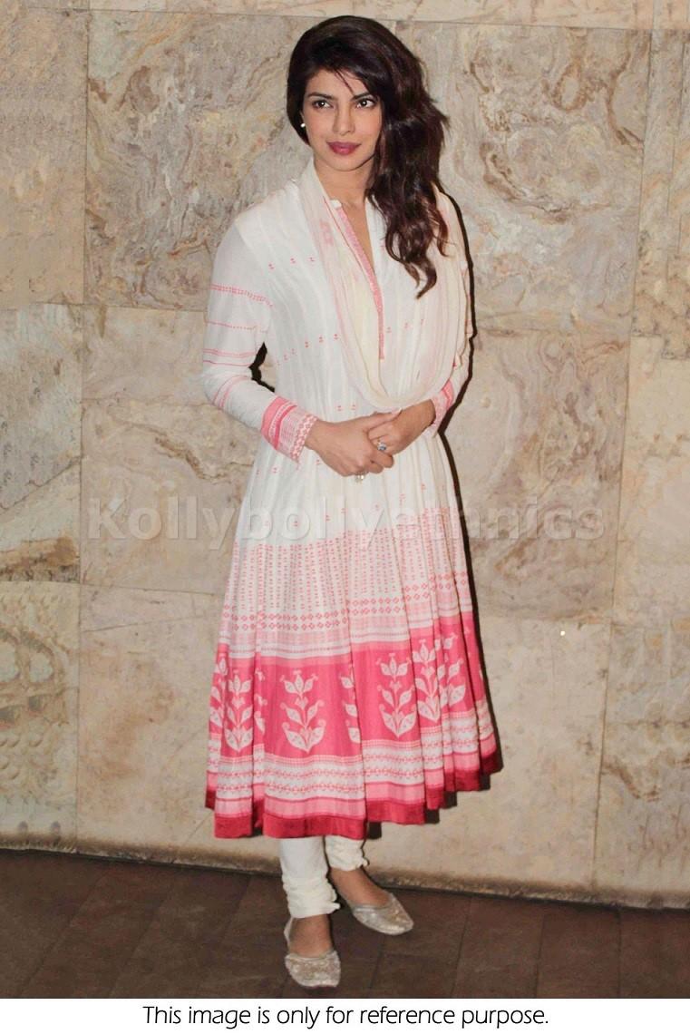 56fcd717174 Bollywood Style Priyanka Chopra Georgette Anarkali in White Color
