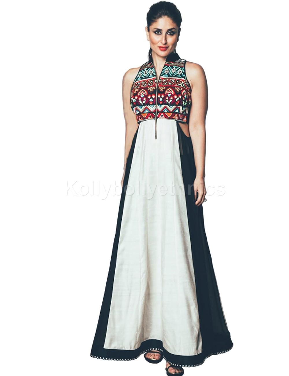 b2f655d16f02b Buy Bollywood Style Kareena kapoor white and black raw silk kurti ...