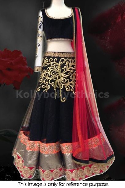 Bollywood Style Gorgeous net lehenga in black and red color