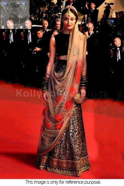 Bollywood Style Kanishtha Dhankhar brocade and net Red carpet Bridal lehenga in copper black
