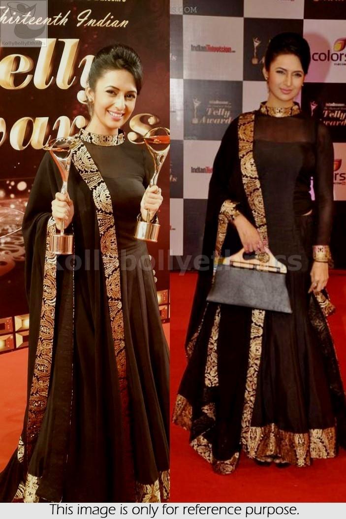 Bollywood Style Divyanka Tripathi pure Georgette lehenga in black color