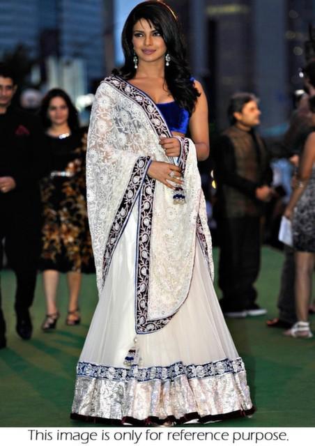 Bollywood Style Priyanka chopra net lehenga in white color