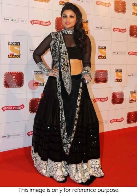 Bollywood Style Parineeti chopra Bamber lehenga in black color