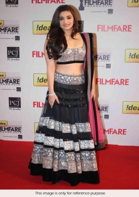 Bollywood Style Alia Bhatt Flim fare micro net lehenga in black color