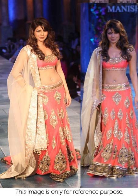 Bollywood lehengas | Priyanka chopra lehenga | Priyanka chopra peach lehenga buy online shopping