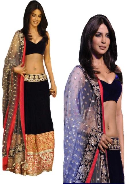 Bollywood Style Priyanka Chopra velvet lehenga in Navy Blue color