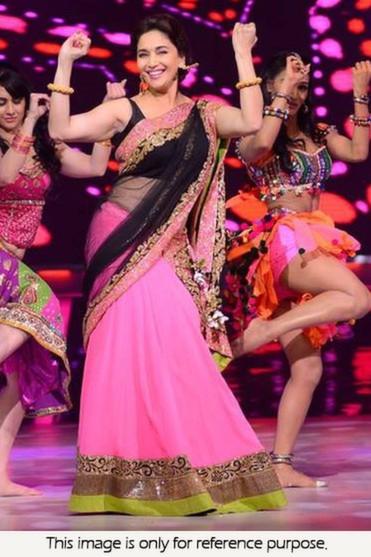 Bollywood Style Madhuri Jhalak Bemberg fabric with raw silk lehenga in Pink color