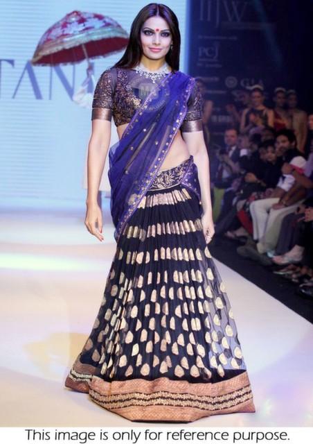 Bollywood Style Bipasha Basu at gitanjali gems Iijw banarasi lehenga in dark blue color