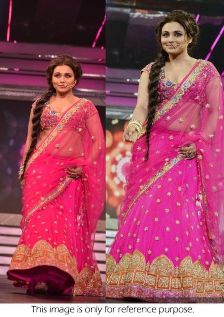 Bollywood Style Rani Mukerjee net lehenga style saree in Pink color