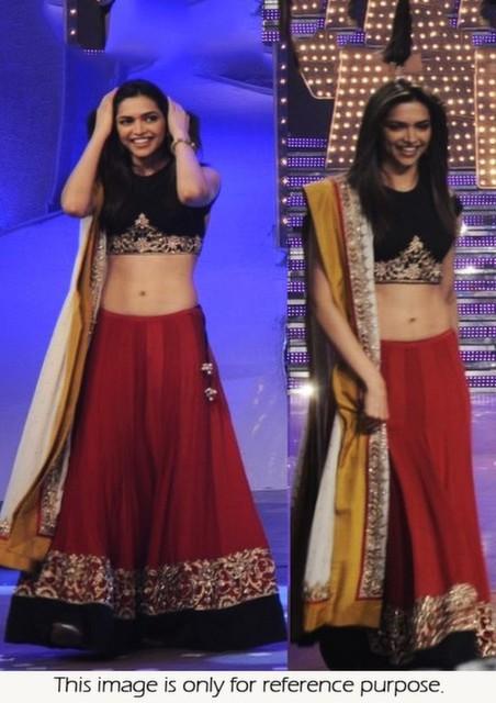 Bollywood Style Deepika Padukone Heavy Rawsilk Paper lehenga at just dance set in red and black colo
