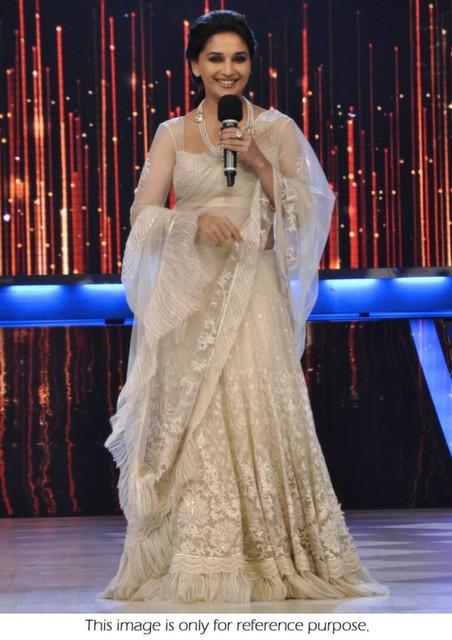 Bollywood Style Madhuri Dixt Jalak Dikla Jaa net and silk lehenga in white color