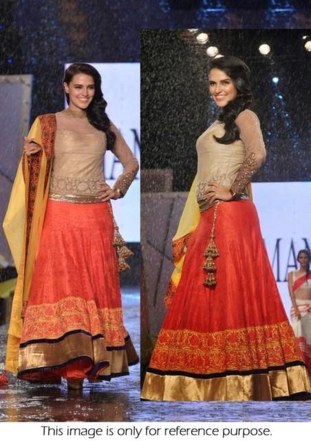 Bollywood Style Neha Dhupia velvet lehenga in orange and yellow color