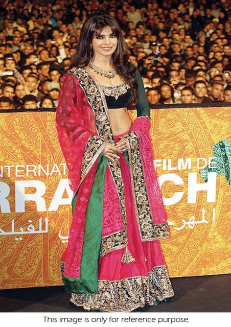 Bollywood Style Priyanka Chopra net lehenga in Pink color