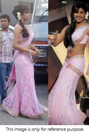 Bollywood Style Priyanka Chopra net and silk lehenga choli set in light pink color