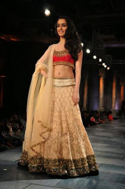 Bollywood Style Shraddha Kapoor net and velvet lehenga in cream color