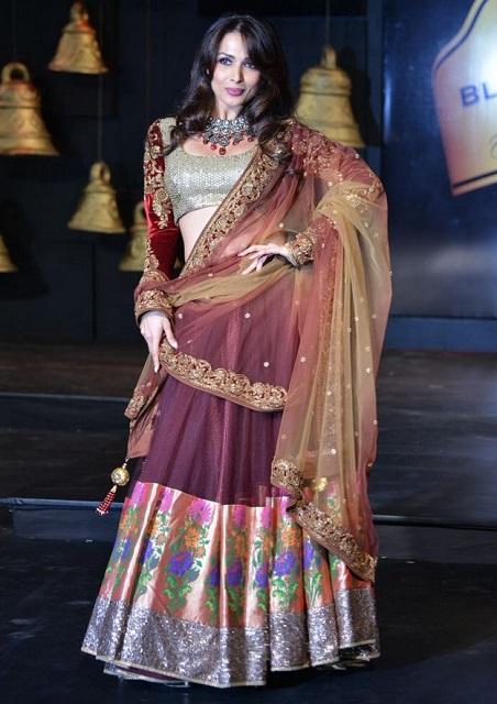 Bollywood Style Malaika arora khan Pure geogette bridal lehenga in Maroon color