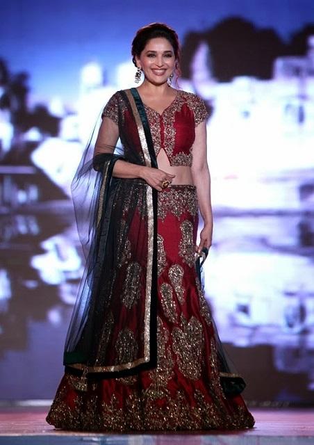 Bollywood Style Madhuri Dixit moss velvet lehenga in maroon color