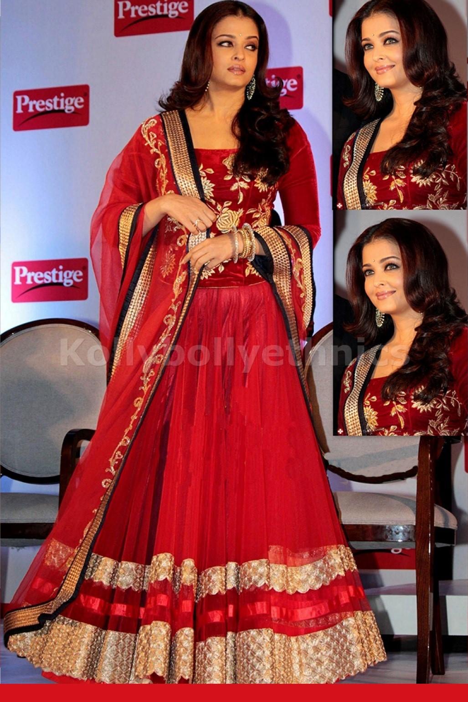Bollywood Style Aishwarya rai velvet lehenga choli in red color
