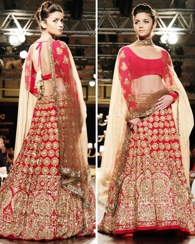 Bollywood Style Alia Bhatt Georgette bridal lehenga in red color