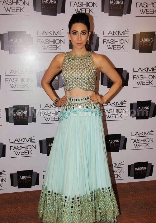 Bollywood Style Karishma kapoor lakme silk and georgette and cotton lehenga choli in sky blue color