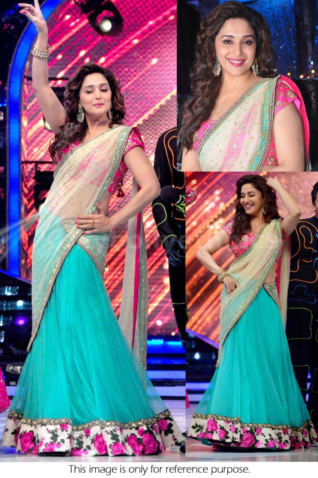 Bollywood Style Madhuri Dixit georgette lehenga in blue and white color