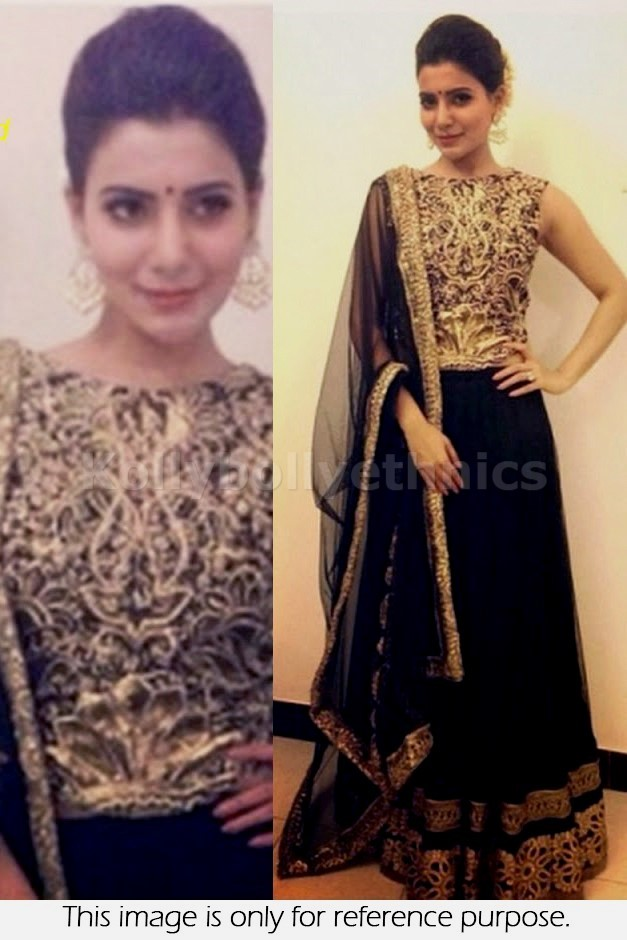 Bollywood Style Samantha Net and Georgette lehenga in black and gold color