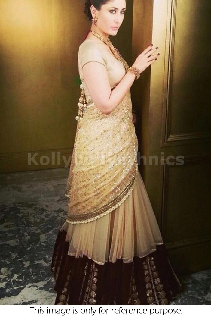 Bollywood Style Kareena kapoor net lehenga in gold and beige color